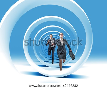 man and woman have race in 3d blue spiral - stock photo