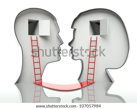 Man and woman heads profiles with ladders and path, concept of communication - stock photo