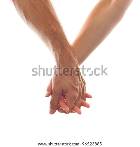 Man and Woman holding hand on white Background - stock photo