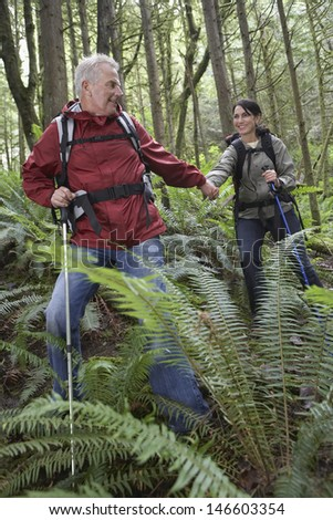 Man and woman holding hands and walking with backpacks in the forest - stock photo