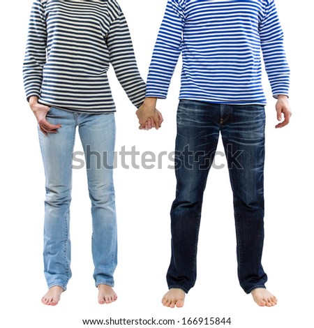 Man and woman holding hands together isolated on white background. Young couple wearing marine sailor uniform holding hands illustrating love and friendship