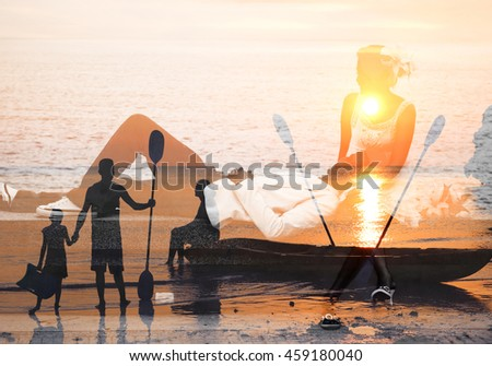 Man and woman imagination background.Concept by using the program to included two images together.  - stock photo