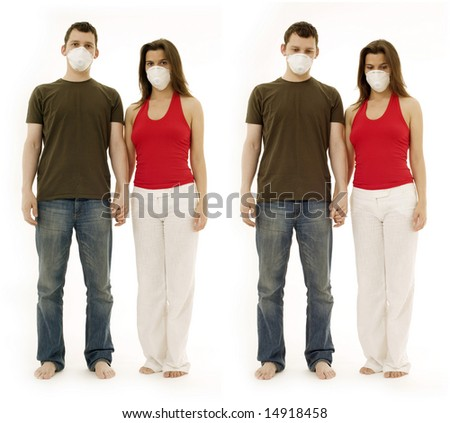 man and woman in respirators. Ecology and pollution concept.