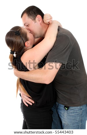 man and woman is kissed, with white background, isolated