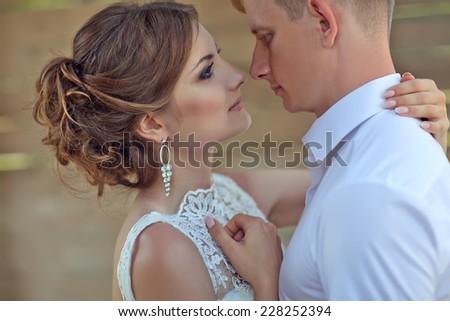 Man and woman kissing - stock photo