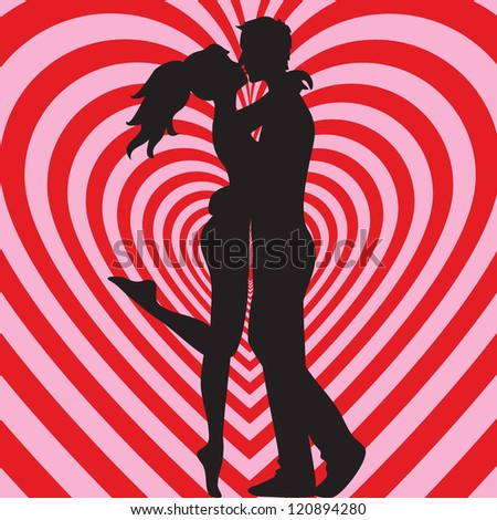 Man and woman kissing on heart pink and red background - stock photo