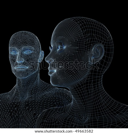 Man and woman mannequins. Done in luminous lines on a black background