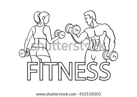 Man Woman Fitness Silhouette Character Design Stock Illustration ...