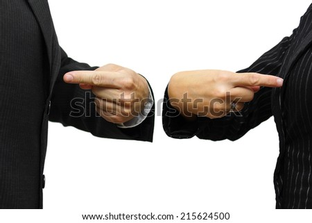 man and woman  pointing to itself. rivalry & competition concept - stock photo