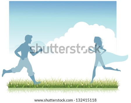 Man and woman run to each other in the grass. JPG - stock photo