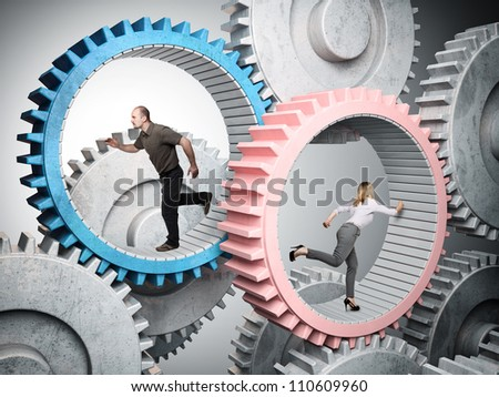man and woman running in metal gear - stock photo
