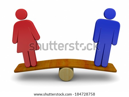 Man And Woman Sex Equality Concept - 3D - stock photo