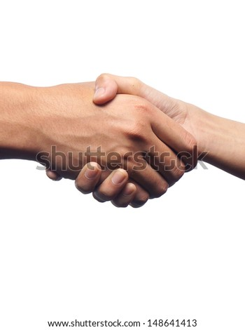 Man and woman shaking hands.