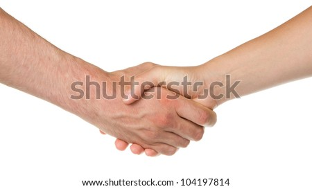 Man and woman shaking hands, isolated on white - stock photo