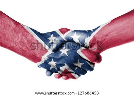 Man and woman shaking hands, isolated on white, Confederate Flag - stock photo