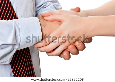Man and woman shaking hands with a close-up isolated on a white background