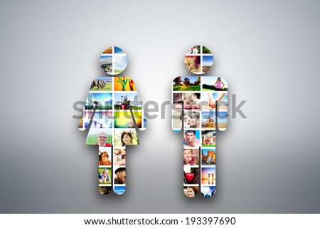 Man and woman signs, design element made of pictures, photographs of people, animals and places. Conceptual background
