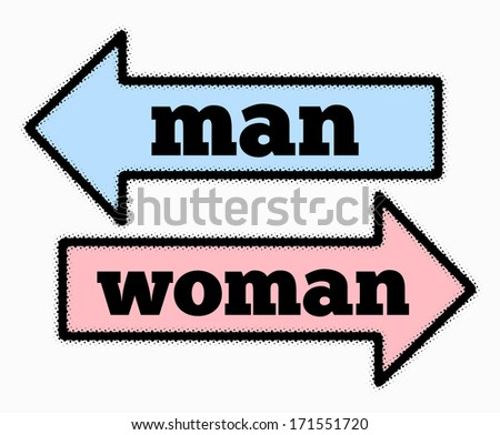 Man and woman signs in  blue and pink arrows concept - stock photo