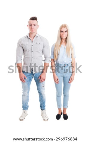 Man and woman standing next to each other isolated on white background - stock photo