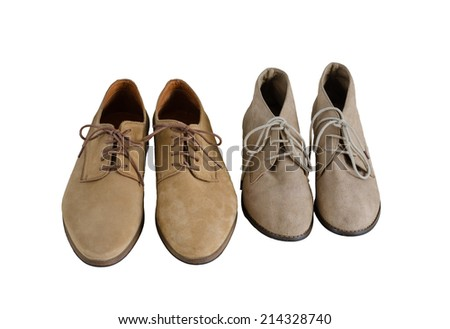 Man and Woman Suede Leather Shoes Isolated on White Background - stock photo