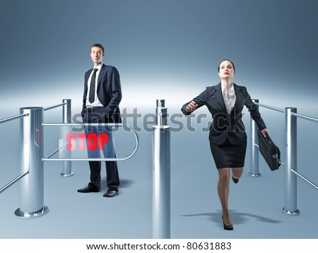 man and woman use different way - stock photo