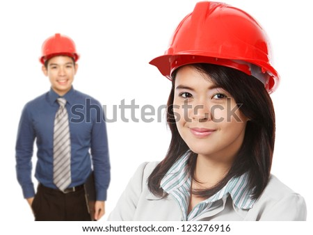 Man and Woman Wearing Hardhats