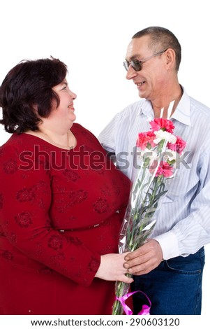 man and woman with a bouquet of flowers isolated on white background