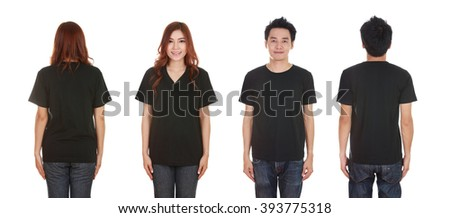 man and woman with blank black t-shirt isolated on white background
