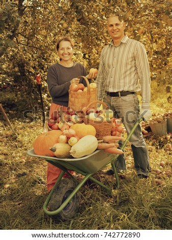 Man and woman with crop of vegetables in garden