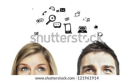 man and woman with social media icon - stock photo
