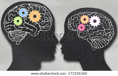 Man and Woman with Working Brain in blackboard Style - stock photo