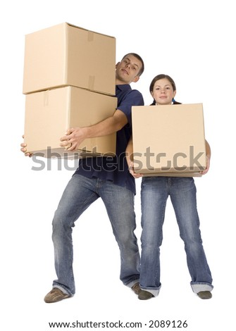 man and woman (workers) standing with boxes - stock photo