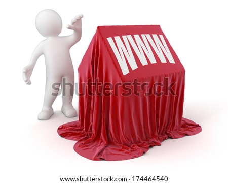 Man and www house (clipping path included) - stock photo