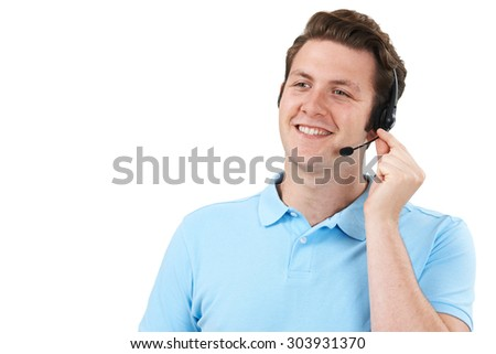 Man Answering Calls In Customer Service Department