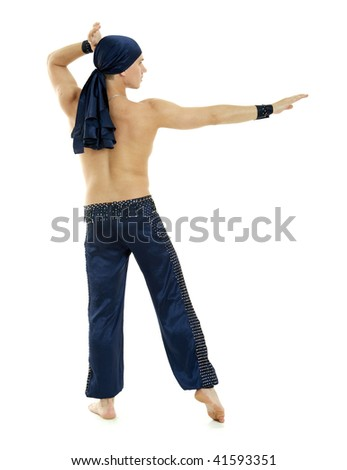 Man arabic dance style bellydance posing back on white background