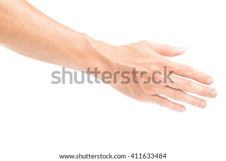 Man arm with blood veins on white backgrond - stock photo
