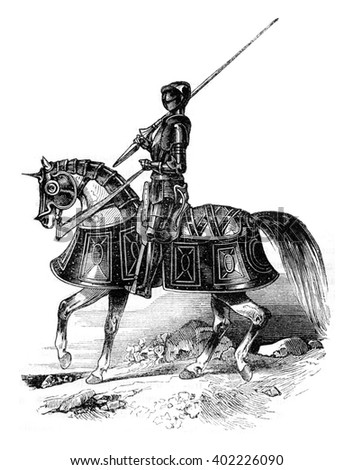 Man arms early in the reign of Edward VI, vintage engraved illustration. Colorful History of England, 1837. - stock photo