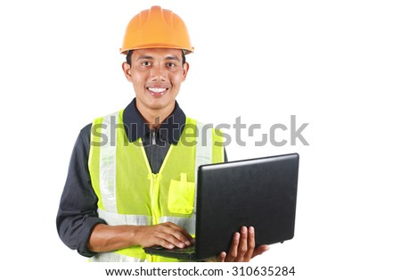 Man asian engineer with laptop isolated on white background - stock photo