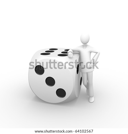 Man aside a giant dice - stock photo