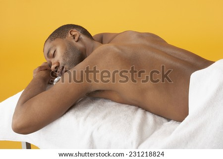 Man at Spa - stock photo