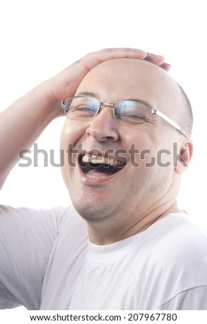 man at 38 wearint white t-shirt smiling and laugh  - stock photo