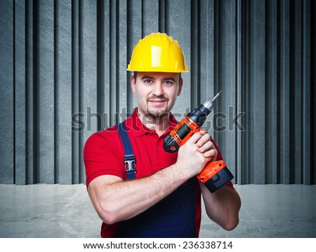 man at work and 3d abstract background