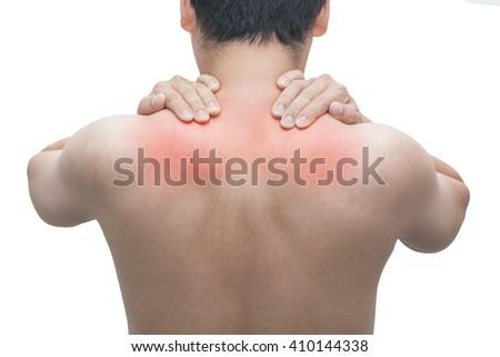 Man back neck shoulder pain isolated white background - stock photo