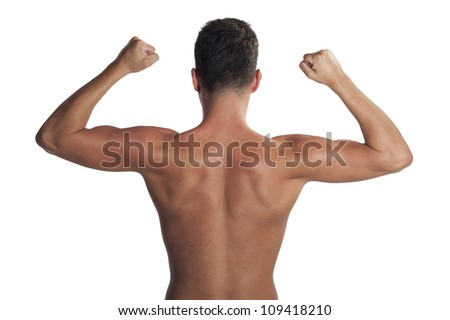 man back with his arms raised