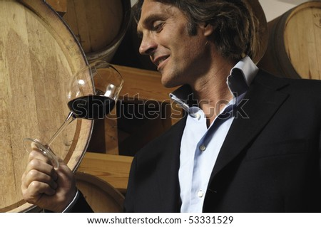 Man, barrels and red wine - stock photo