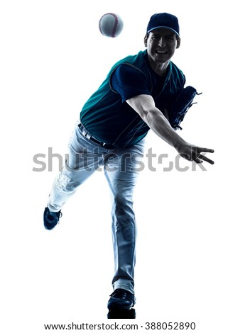man baseball player silhouette isolated - stock photo