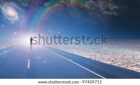 Man bathed in light and roadway - stock photo