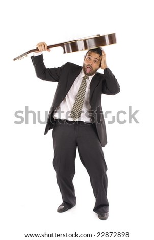 Man beating in his self with the guitar .