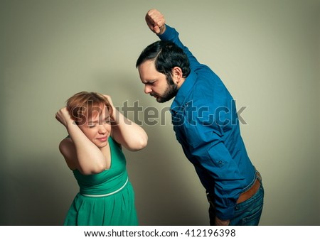 man beating  woman,violence concept