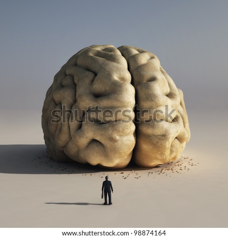 man before big brain - stock photo
